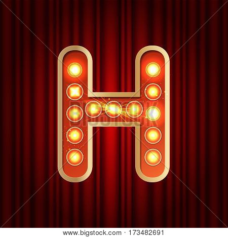 Realistic Retro Gold Lamp Bulb Font Letter H. Part Of Alphabet In Vintage Casino And Slots Style.  V