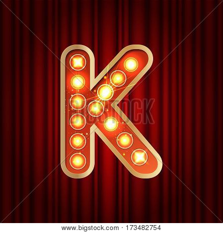 Realistic Retro Gold Lamp Bulb Font Letter K. Part Of Alphabet In Vintage Casino And Slots Style.  V