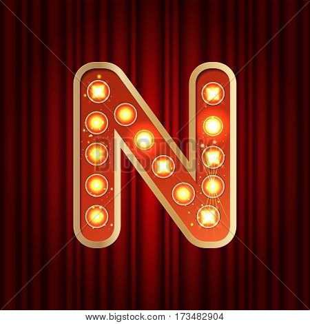 Realistic Retro Gold Lamp Bulb Font Letter N. Part Of Alphabet In Vintage Casino And Slots Style.  V