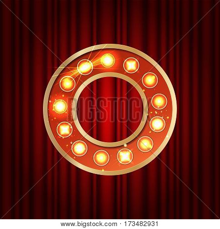 Realistic Retro Gold Lamp Bulb Font Letter O. Part Of Alphabet In Vintage Casino And Slots Style.  V