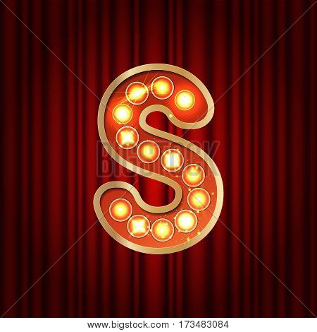 Realistic Retro Gold Lamp Bulb Font Letter S. Part Of Alphabet In Vintage Casino And Slots Style.  V