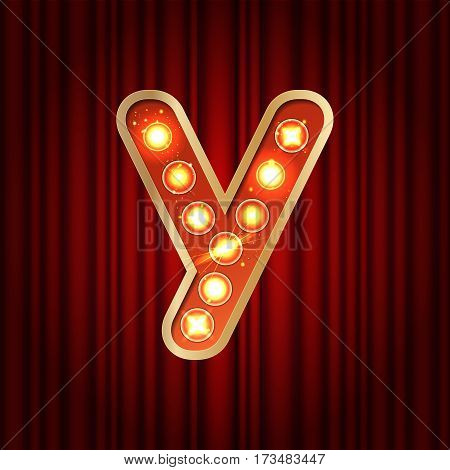 Realistic Retro Gold Lamp Bulb Font Letter Y. Part Of Alphabet In Vintage Casino And Slots Style.  V