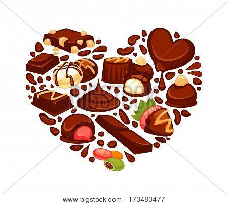 Chocolate heart poster template of confectionery desserts and truffle candy, caramel lollipops and confections bars for bakery shop, pastry or cafeteria and cafe