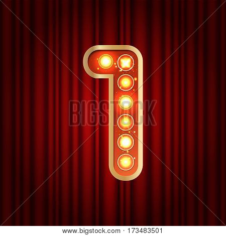 Realistic Retro Gold Lamp Bulb Font Number 1. Part Of Alphabet In Vintage Casino And Slots Style.  V