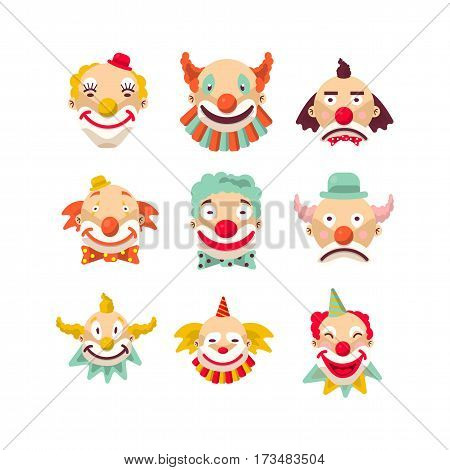 Clown faces vector isolated icons set. Cartoon circus funny comic man or character in color wig with expression sad and happy smile or crying for birthday party on confetti background