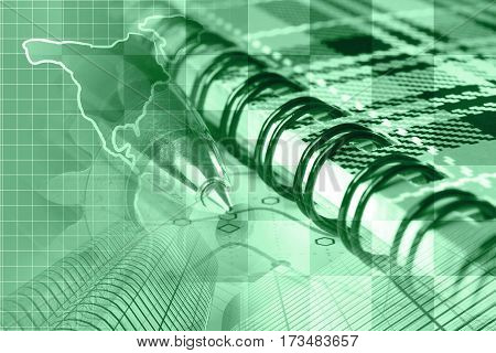Financial background in greens with notebook map buildings and pen.