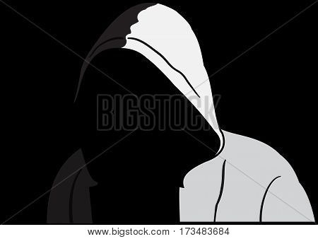Illustration of silhouette of anonymous on a black background