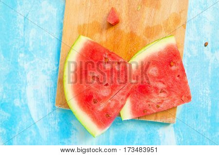Sweet watermelon slices top view selective focus