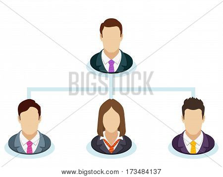 Teamwork flow chart. Corporate organization chart with business people icons. The hierarchical organization management system. Company business structure in a flat style. Vector illustration.