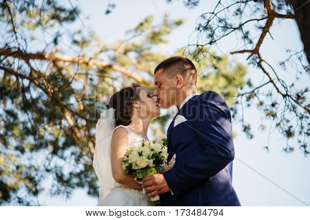 Loving Young Wedding Couple In Love At Sunny Forest.