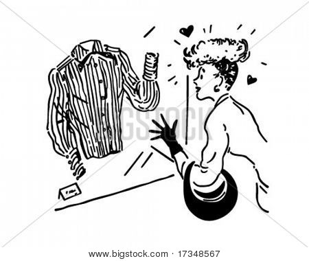 Lady Window Shopping - Retro Clipart Illustration