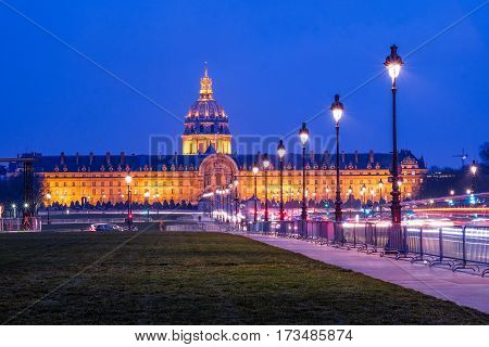 Traffic jam in front of Les Invalides in Paris France