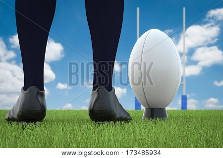 Rugby Ball With Rugby Posts On Field