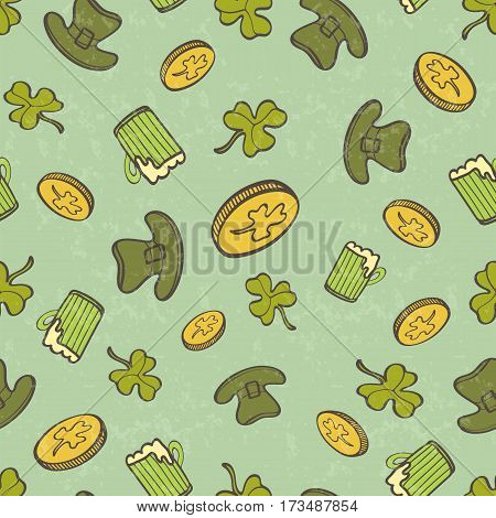 Saint Patrick's Day Seamless Pattern With Coins Cover Beer mug And Leprechaun Hat