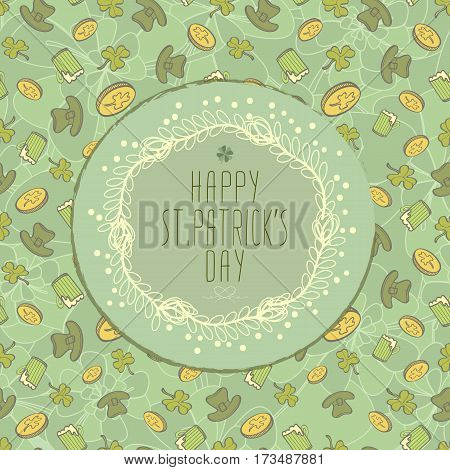 Saint Patrick's Day Background With Coins Cover Beer mug And Leprechaun Hat