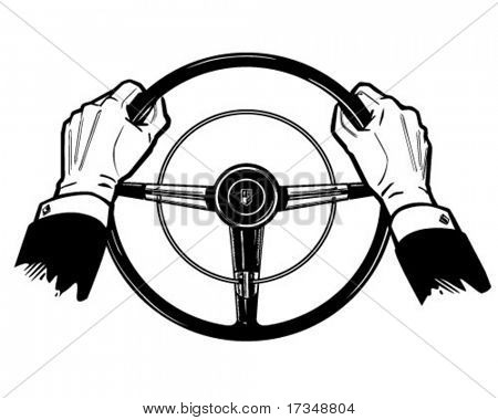 Hands On The Wheel - Retro Clipart Illustration