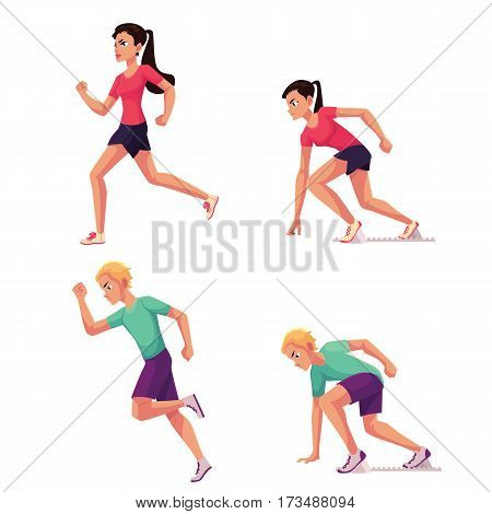 Set of runners, male and female, running and standing on starting blocks, cartoon vector illustration isolated on white background. Man and woman running and ready to run, sprint, track and field
