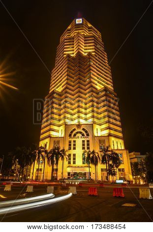 Office Building At Night In Kuala Lumpur