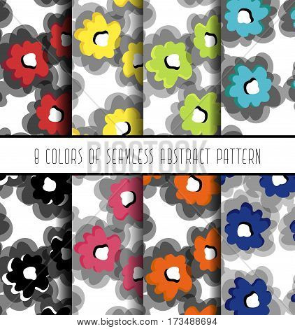 Fashion Simple Textile Print Floral Abstract Pattern With Bright Flowers