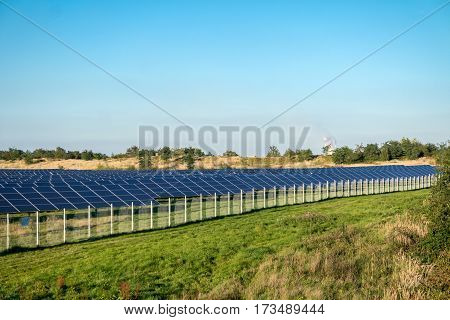 Solar panels on the field - Photovoltaic power plant