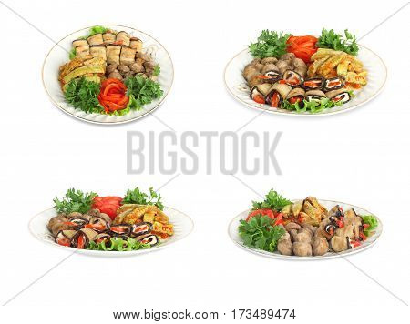 Vegetable Marrows, Eggplants, Mushrooms With Tomatoes