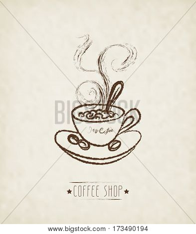 Hand Drawn Cup Of Hot Coffee On Dirty Background. Concept image of coffeehouse restaurant menu cafe coffee shop
