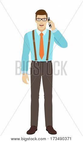 Businessman talking on the mobile phone. A man wearing a tie and suspenders. Full length portrait of businessman in a flat style. Vector illustration.