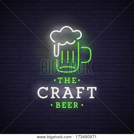 Beer neon sign, bright signboard, light banner. Beer logo, emblem. Theme St. Patrick's Day