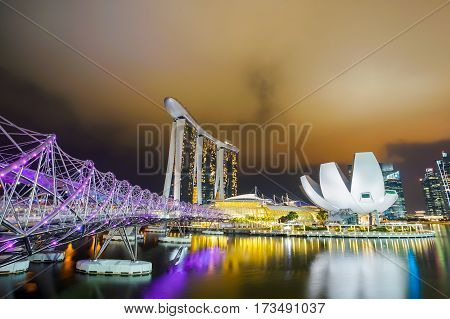 MARINA BAY SINGAPORE - JAN 20 2017: Landscape of Felix bridge and Marina Bay Sands in Singapore.