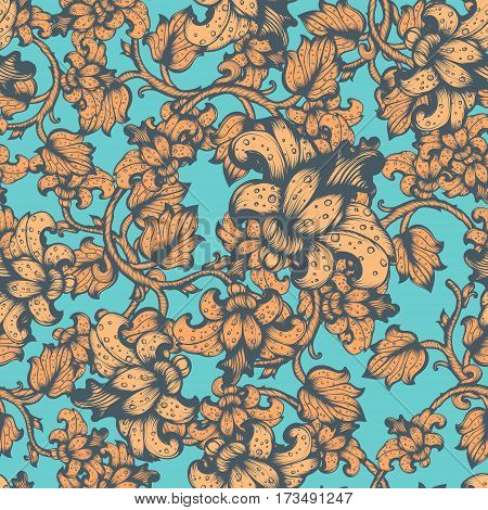 Hand Drawn Vintage Floral Vector Seamless Pattern