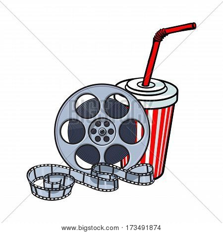 Cinema attributes - retro style film reel and soda water in paper cup, sketch vector illustration isolated on white background. Drink in paper cup and film reel, cinema attribute, object