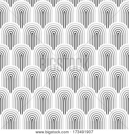 Black white thin outlined white seamless background vector illustration