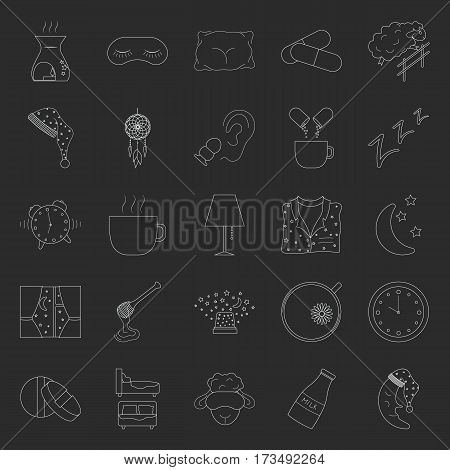 Set of thin line sleep and insomnia icon on dark background