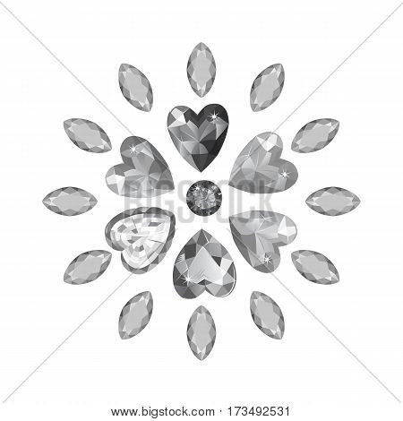 Texture of colored marquise & heart grey cut gems isolated on white background vector illustration