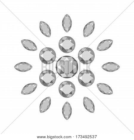 Scattered around gems isolated on white background vector illustration