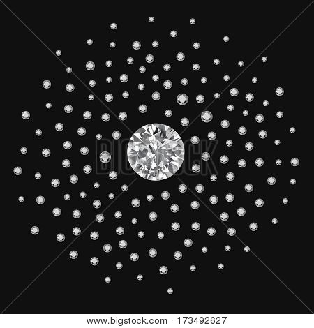 Silver pearls scattered around a large gem isolated on dark background vector illustration