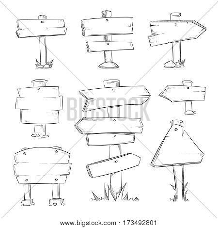 Cartoon doodle road wooden signs vector set. Wooden sketch banner arrow, illustration of drawing symbol arrow for road set direction