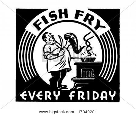 Fish Fry - Retro Ad Art Banner