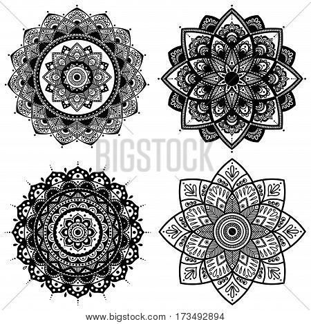 Mandala. Coloring book pages. Indian antistress medallion. Abstract islamic flower arabic henna design yoga symbol. Vector illustration.