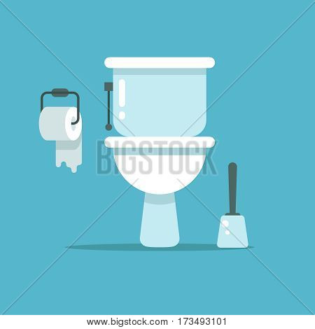 Washroom, toilet bowl, bidet with with toilet paper and toilet brush vector illustration. Toilet room with brush and paper