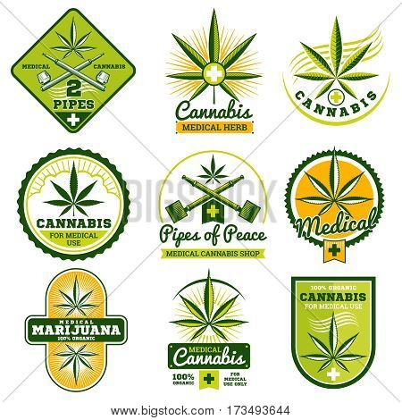 Marijuana, hashish, drug medicine vector logos and labels set. Medical cannabis plant, illustration of legal label cannabis