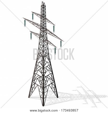 Vector high voltage pylon on white background in isometric perspective. 3d metal pole voltage, isolated background. Industrial illustration. Power line pylon with safety lock. Nuclear facilities power