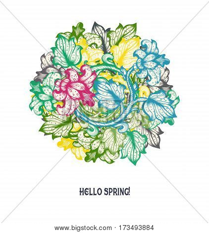 Hand Drawn Sketch Spring Vintage Floral Vector Design Wirh Flowers And Leaves