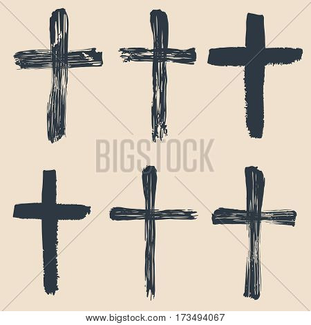 Grunge religious, baptism, christian crosses, crucifix symbols vector graphic paint set. Crucifix christian conceptual symbol illustration