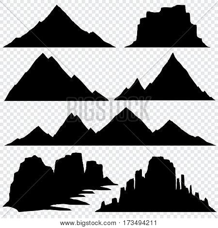 Mountain silhouette vector skyline panoramic view. Nature hill mountain, black silhouette drawing mountain illustration