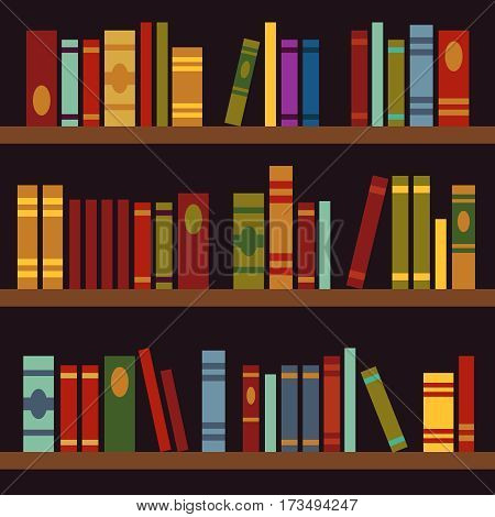 Library, book shelves, book box vector illustration. Big library wih bookshelf