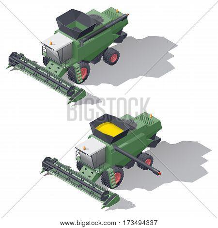 Combine harvester isometric icon set vector graphic illustration design