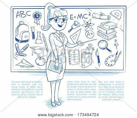 Doodle teacher teaching students on the lesson. school education vector concept with hand drawn science icons. Lesson in college or university, sketch drawing blackboard illustration
