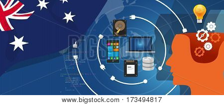 Australia information technology digital infrastructure connecting business data via internet network using computer software an electronic innovation vector
