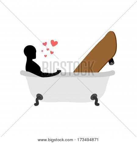 Lover Skateboarding. Skateboard And Guy In Bath. Joint Bathing. Passion Feelings Among Lovers. Roman